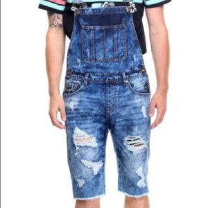 Pink dolphin distressed overalls